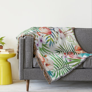 Flamingo Tropical natural garden pattern mint Throw Blanket