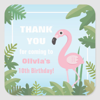 Flamingo Tropical Summer Thank You Stickers