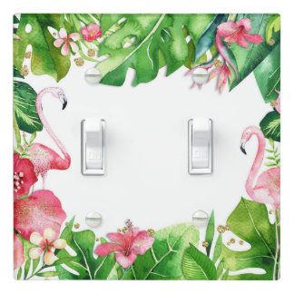 Flamingo Tropics Summer Island Chic Hibiscus Light Switch Cover