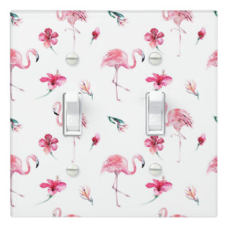 Flamingo Tropics Summer Island Chic Hibiscus Pink Light Switch Cover