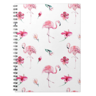 Flamingo Tropics Summer Island Chic Hibiscus Pink Notebook