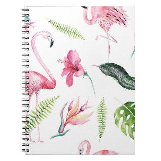 Flamingo Tropics Summer Island Chic Hibiscus Pink Spiral Notebook