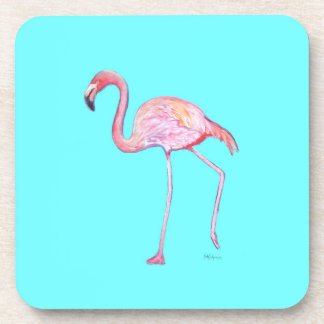 Flamingo Turquoise Blue Coaster