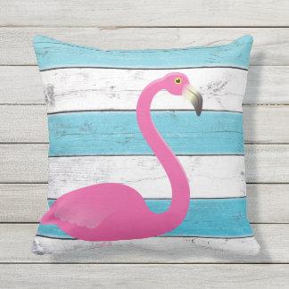 Flamingo Turquoise & White Striped Outdoor Pillow