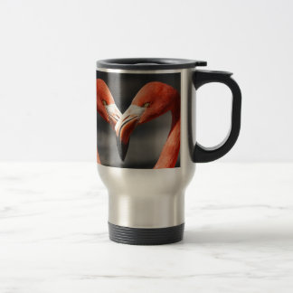Flamingo Valentine Heart Valentine's Day Love Travel Mug