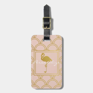 Flamingo Vintage Pink and Faux Gold Modern Luggage Tag