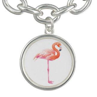 Flamingo watercolor charm bracelet