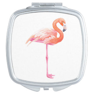 Flamingo watercolor compact mirrors