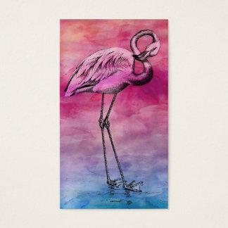 Flamingo Watercolor Vintage Pink Flamingos Retro Business Card
