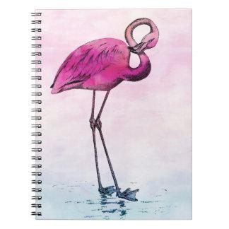 Flamingo Watercolor Vintage Pink Flamingos Retro Spiral Notebook
