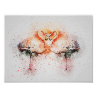 Flamingo Watercolour Print Poster