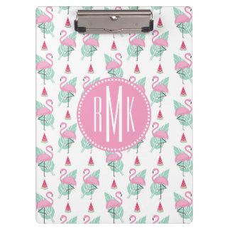 Flamingo & Watermelon Pastel Pattern Clipboard