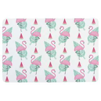 Flamingo & Watermelon Pastel Pattern Floor Mat