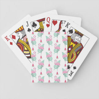 Flamingo & Watermelon Pastel Pattern Playing Cards