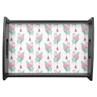 Flamingo & Watermelon Pastel Pattern Serving Tray