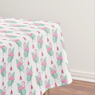 Flamingo & Watermelon Pastel Pattern Tablecloth