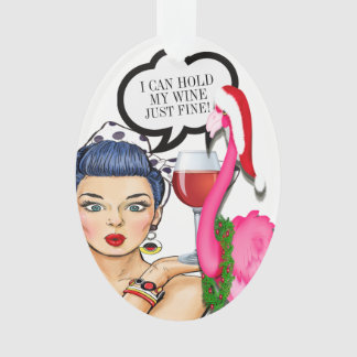 Flamingo Wine Pop Art Ornament #holidayZ