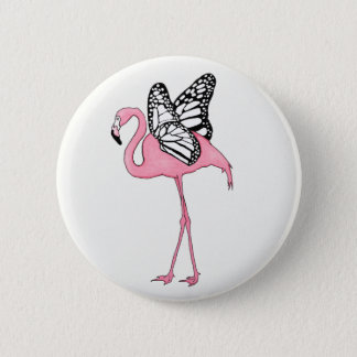 Flamingo with Butterfly Wings 2 Inch Round Button