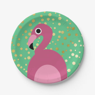 Flamingo with Gold Glitter - Paper Plate