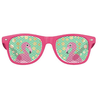 Flamingo with Gold Glitter Sunglasses Party Shade