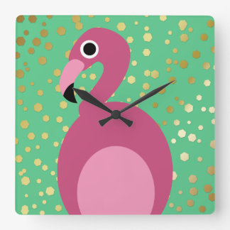Flamingo with Gold Glitter - Wall Clock