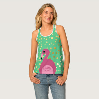 Flamingo with Gold Glitter - Women's Tank Top