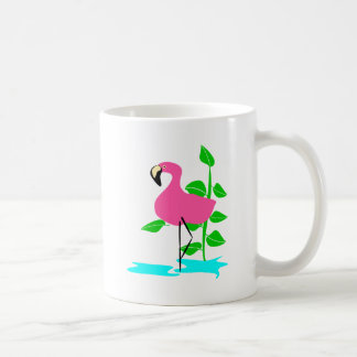 Flamingo With Water And Tropical Leaves, Long Stem Basic White Mug