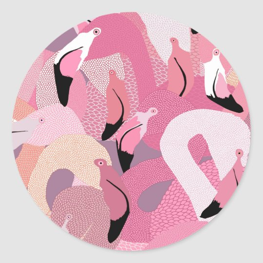 Flamingoes in Pink Sticker
