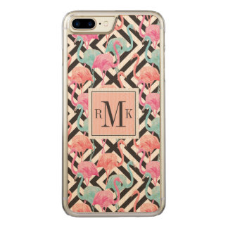 Flamingoes on Bold Design Pattern Carved iPhone 8 Plus/7 Plus Case