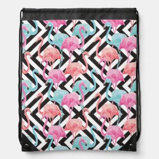 Flamingoes on Bold Design Pattern Drawstring Bag