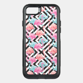 Flamingoes on Bold Design Pattern OtterBox Commuter iPhone 8/7 Case