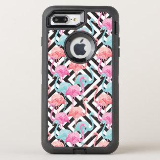 Flamingoes on Bold Design Pattern OtterBox Defender iPhone 8 Plus/7 Plus Case