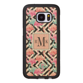 Flamingoes on Bold Design Pattern Wood Samsung Galaxy S7 Case