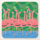 Flamingoes on Parade Square Paper Coaster