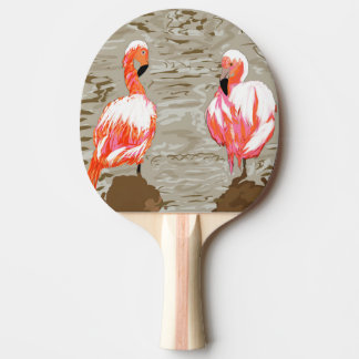 Flamingoes & Pelican Ping-Pong Paddle