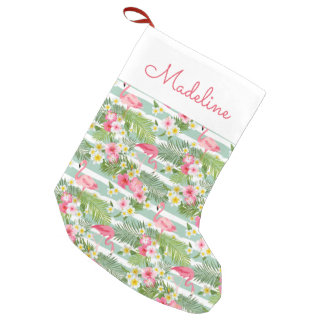 Flamingos And Stripes   Add Your Name Small Christmas Stocking