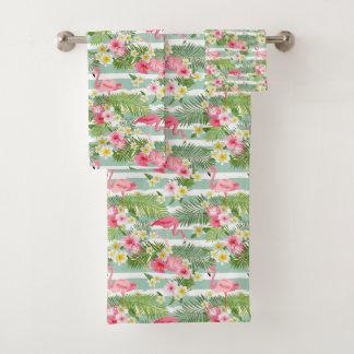 Flamingos And Stripes Bath Towel Set