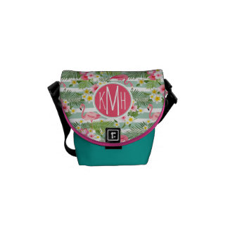 Flamingos And Stripes | Monogram Commuter Bags