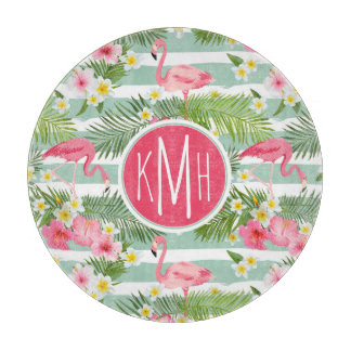 Flamingos And Stripes | Monogram Cutting Board