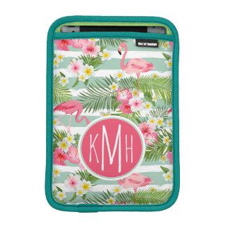 Flamingos And Stripes | Monogram iPad Mini Sleeve