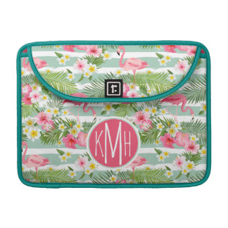 Flamingos And Stripes | Monogram Sleeve For MacBook Pro