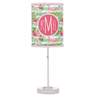 Flamingos And Stripes | Monogram Table Lamp