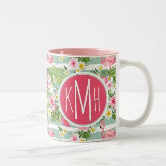Flamingos And Stripes | Monogram Two-Tone Coffee Mug