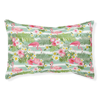 Flamingos And Stripes Small Dog Bed