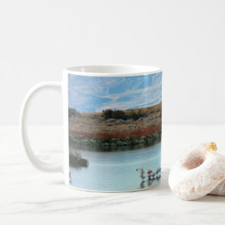 Flamingos at dusk coffee mug