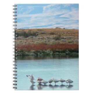 Flamingos at dusk spiral notebook
