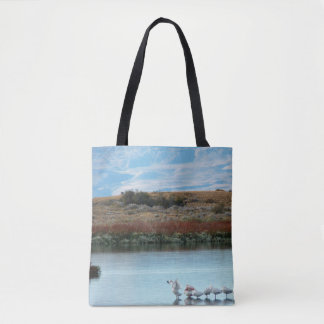 Flamingos at dusk tote bag