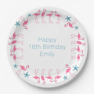 Flamingos Blue Starfish Custom Party Plates