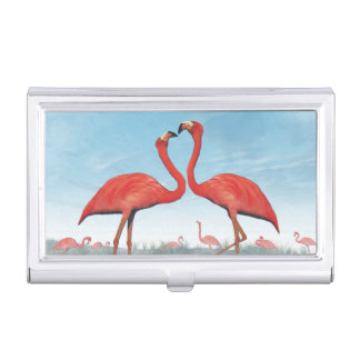 Flamingos courtship - 3D render Business Card Holders