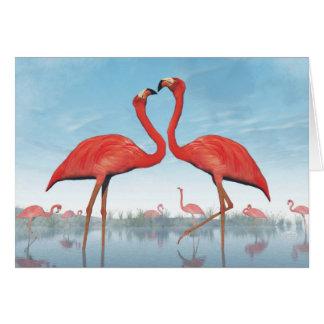 Flamingos courtship - 3D render Card